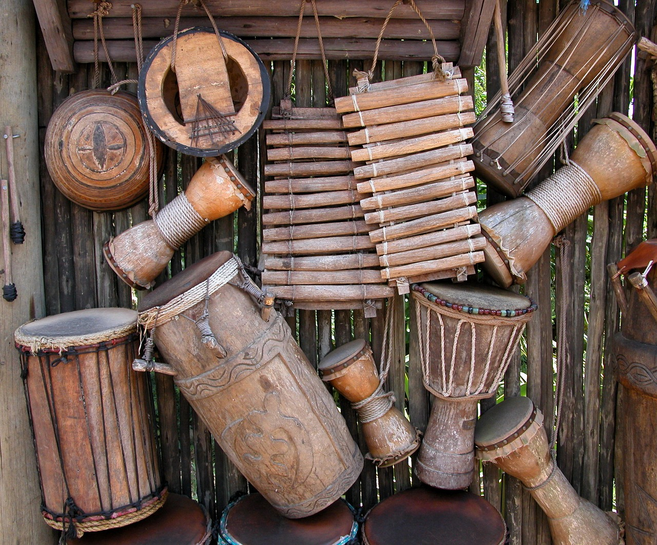 A collection of traditional african music instruments that will feature prominently in any popular Kenyan wedding song