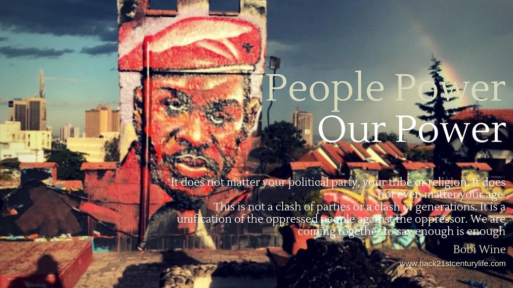 Poster of Bobi Wine mural at Pawa254 rooftop, Nairobi, Kenya