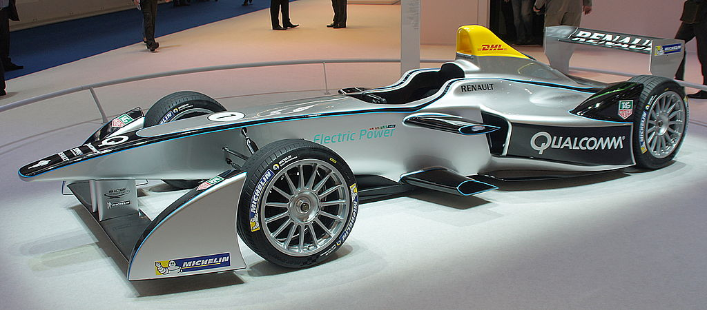 Silver metallic Formula E racing car