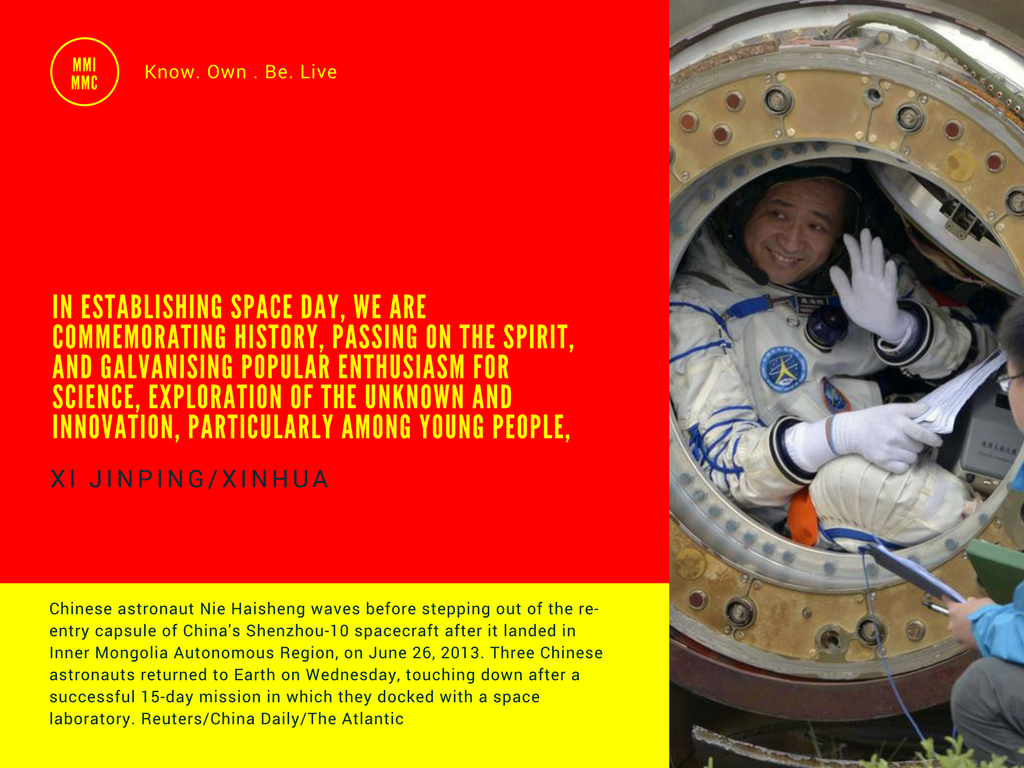 Xi Jinping quote on Chinese space exploration with an image of chinese astronaunt on landing from the Shenzhou 10, China's fifth manned 15 day space mission