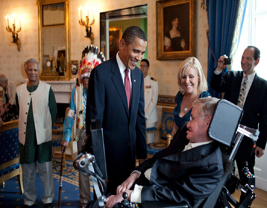 Barack Obama and Stephen Hawking