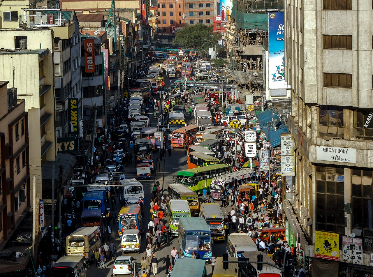 nairobi traffic jam right in the central business district, matatus typically at the heart of it all