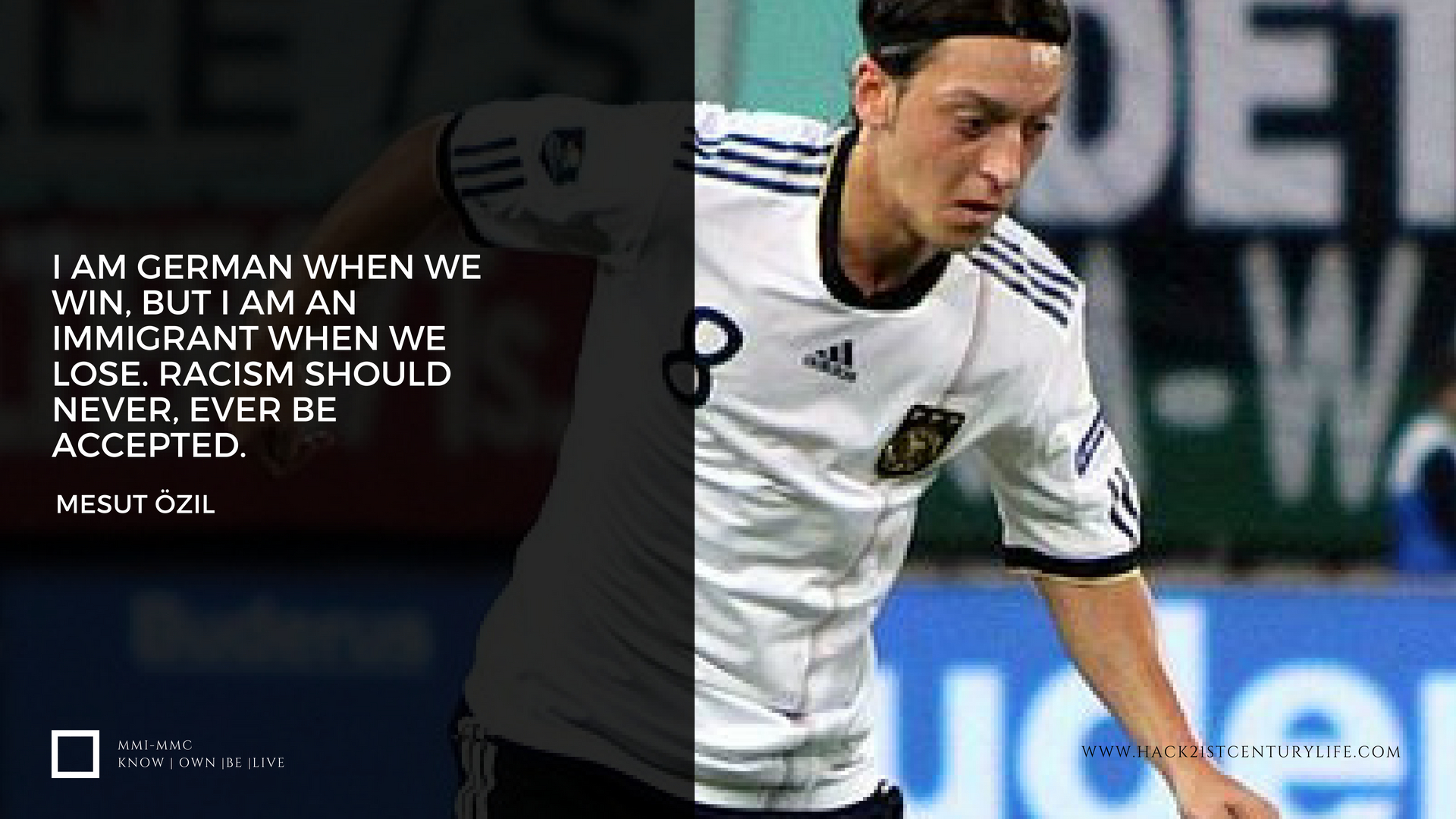 Poster of Mesut Ozil playing for Germany with a quote of the German star on racisim from his press release when retiring from the German National Team