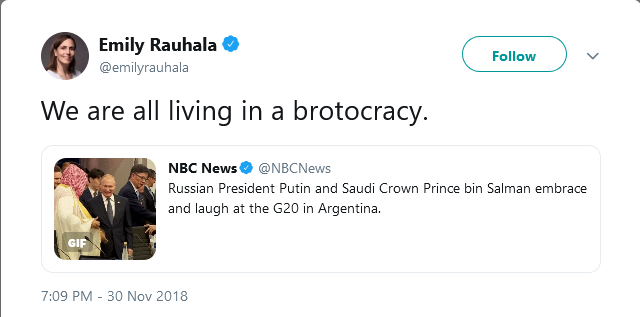 Screeen shot of tweet that uses the Putin-MBS handshake at the G20 conference in Argentina to explain menaing of slang word brotocracy.